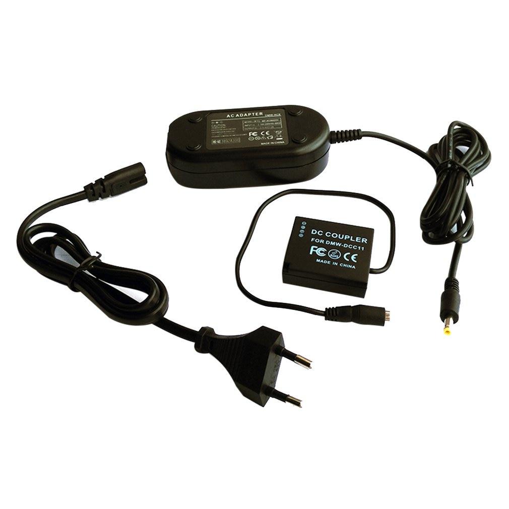 Cargador adaptador de fuente de alimentación de alto rendimiento, Cable negro duradero DMW-AC8 + DMW-DCC11 para Panasonic GF3 DMC-S6K DMC-F3K