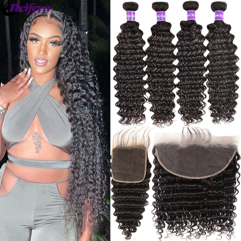 HD 5x5 13x4 Lace Frontal With Bundles Peruvian Deep Wave Hair Bundles With Frontal Deep Curly Human Hair Bundles With Closure