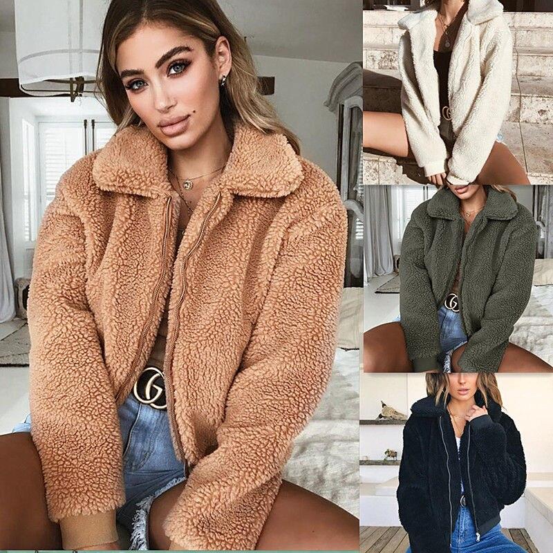 Women Thick Warm Teddy Bear Pocket Fleece Jacket Coat Zip Up Outwear Overcoat Winter Soft Fur Jacket Female Plush Coat Elegant недорого