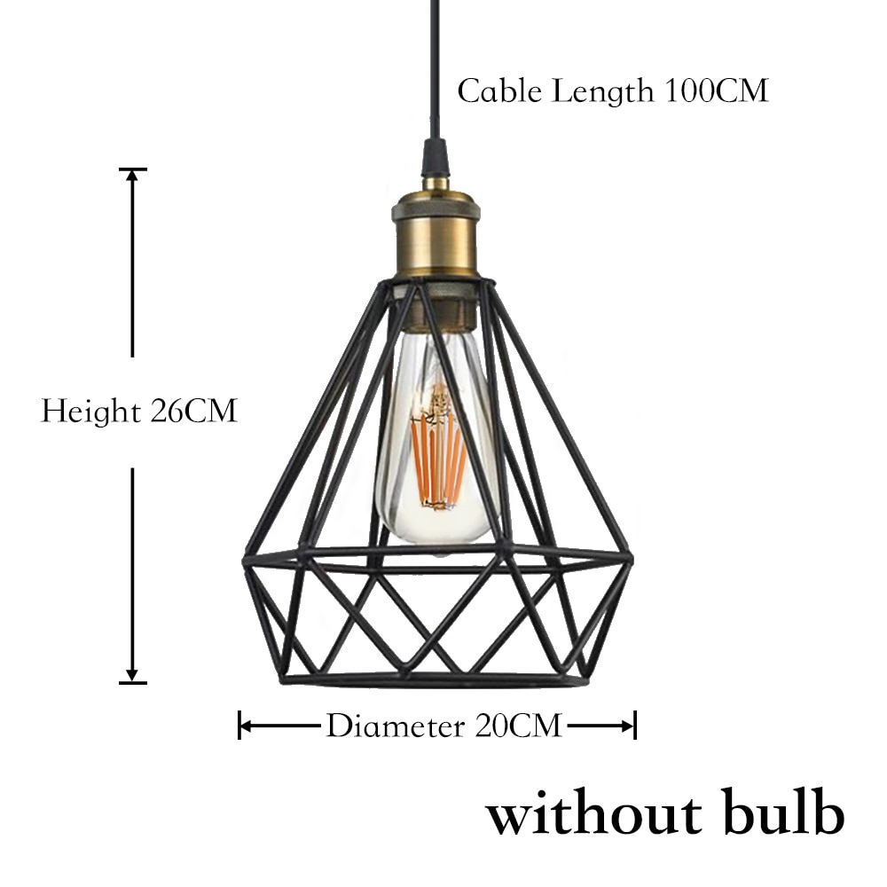 Vintage Industrial Pendant Light Retro Iron Lamp Russia Loft Cage Diamond Shape Hemp Rope Light for Dining Living Room House Dec
