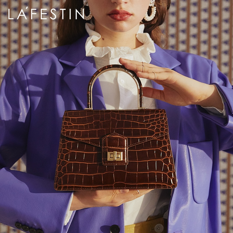 LA FESTIN Designer Crocodile Pattern Bag for Women 2021 New Trendy Top Handle Handbag One-shoulder C