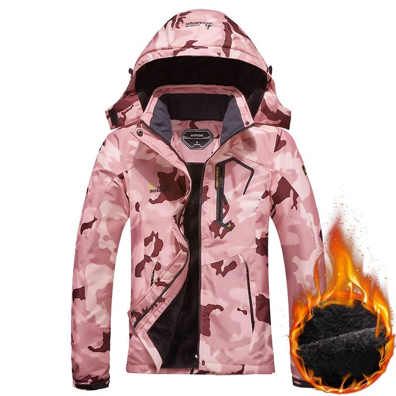 Зимняя Лыжная куртка, женская зимняя водонепроницаемая теплая флисовая куртка, Женская ветрозащитная куртка для катания на лыжах и сноубор...