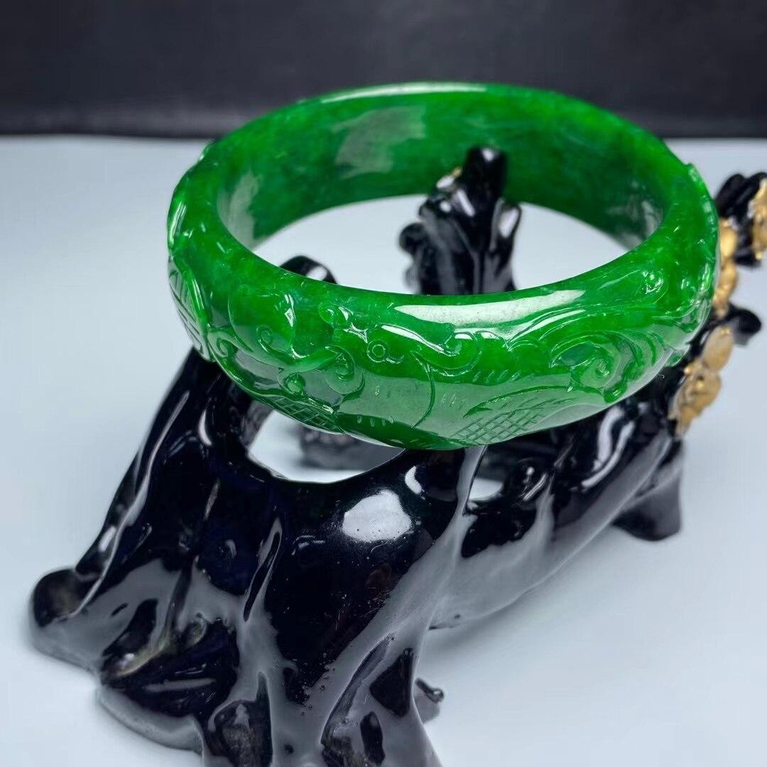 Natural 7A green jade bangles hollow handcarved jadeite bracelets jade bangles jade jewelry bracelets for women charm bracelet