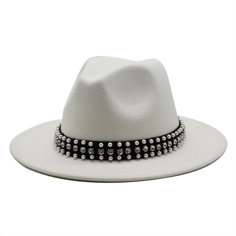 Chapéu de feltro de borda de fita de pérola chapéu de feltro branco rosa amarelo panamá trilby formal boné de festa