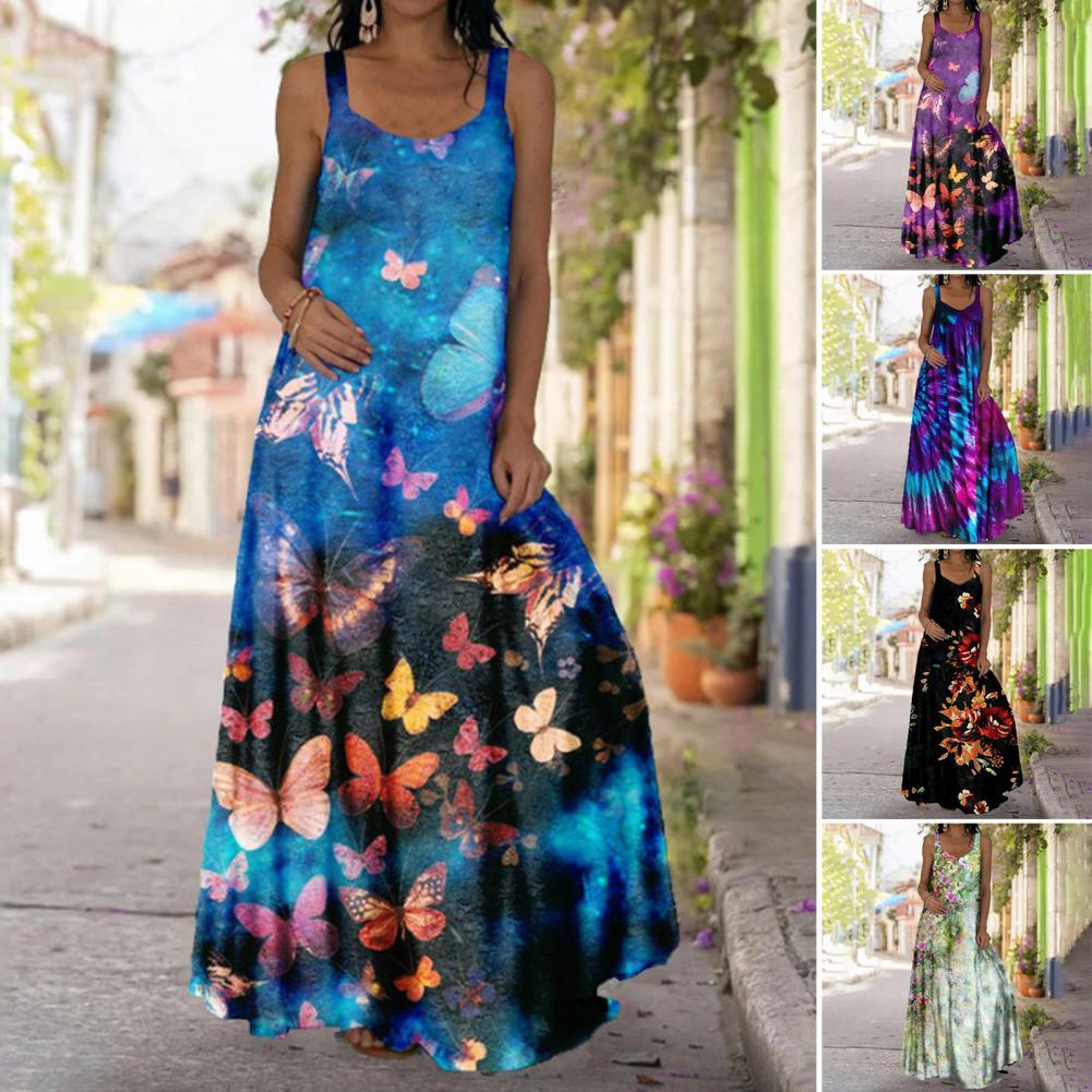 Hot Sales!! Women Bohemian Dress Sleeveless Large Hem Butterfly Floral Print Full-length Sling Dress for Party