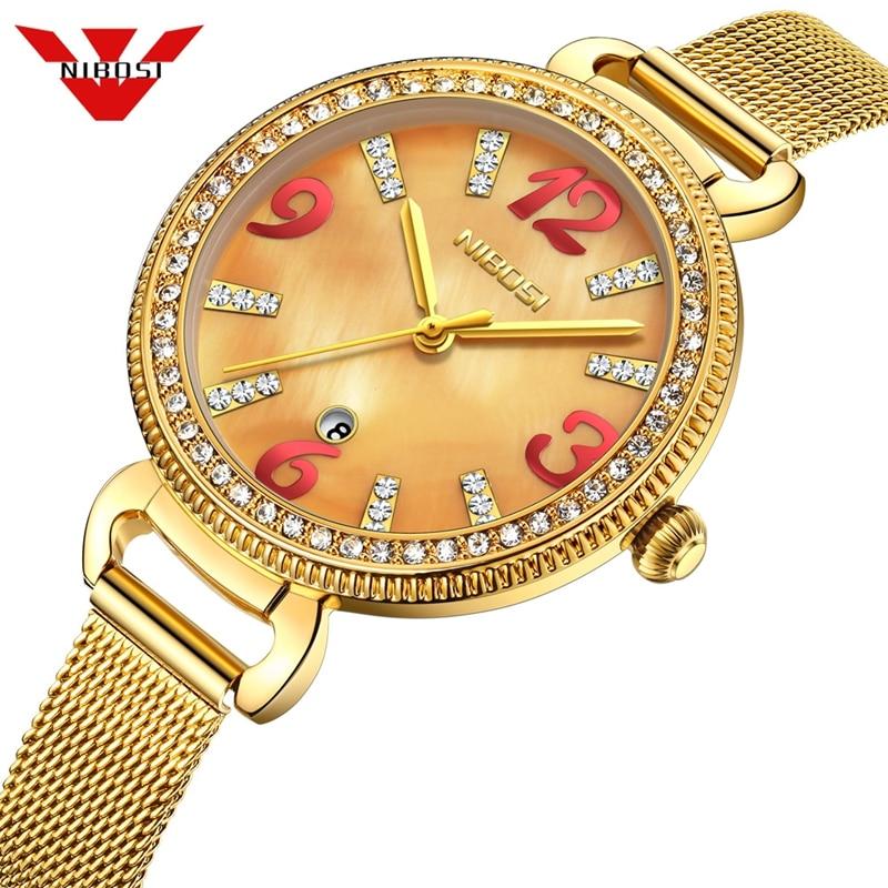 NIBOSI Quartz Movement High Quality Women Watch Stainless Steel Mesh Rose Gold Waterproof Fashion Ladies Watch Dropshipping