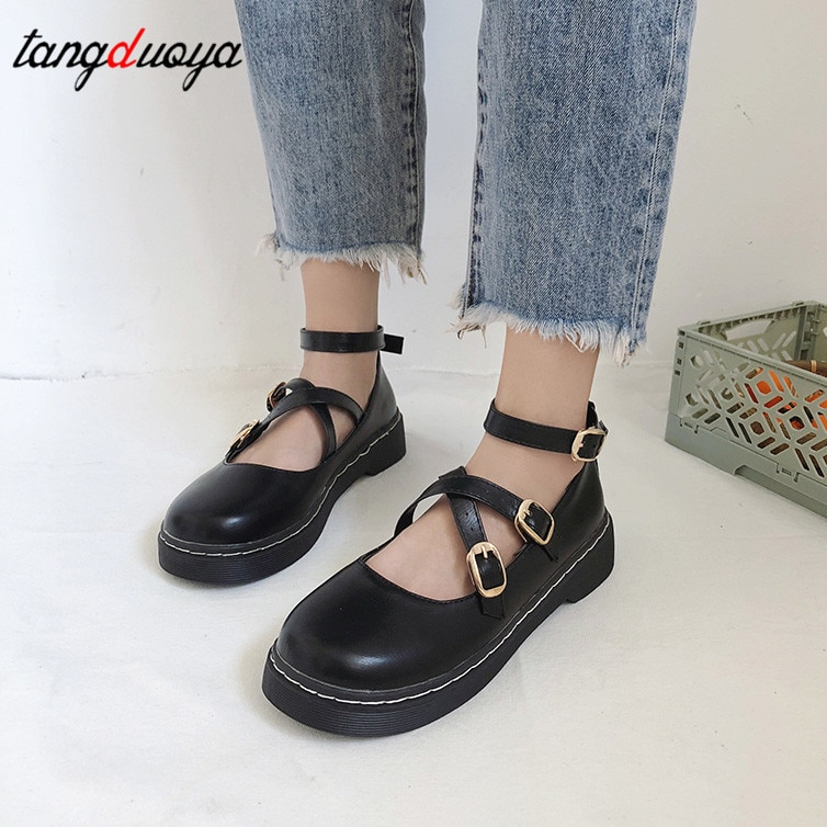 harajuku cute shoes korean mary jane shoes Women Ankle Strap Flats Platform Shallow Buckle Round Toe Lady Sweet lolita Shoes
