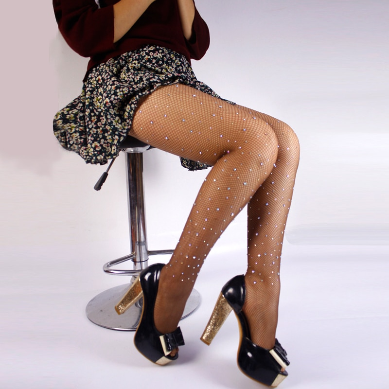 2020 sexy womens meia-calça diamante glitter fishnet collants malha strass nylons senhora meias brilhante quente collant