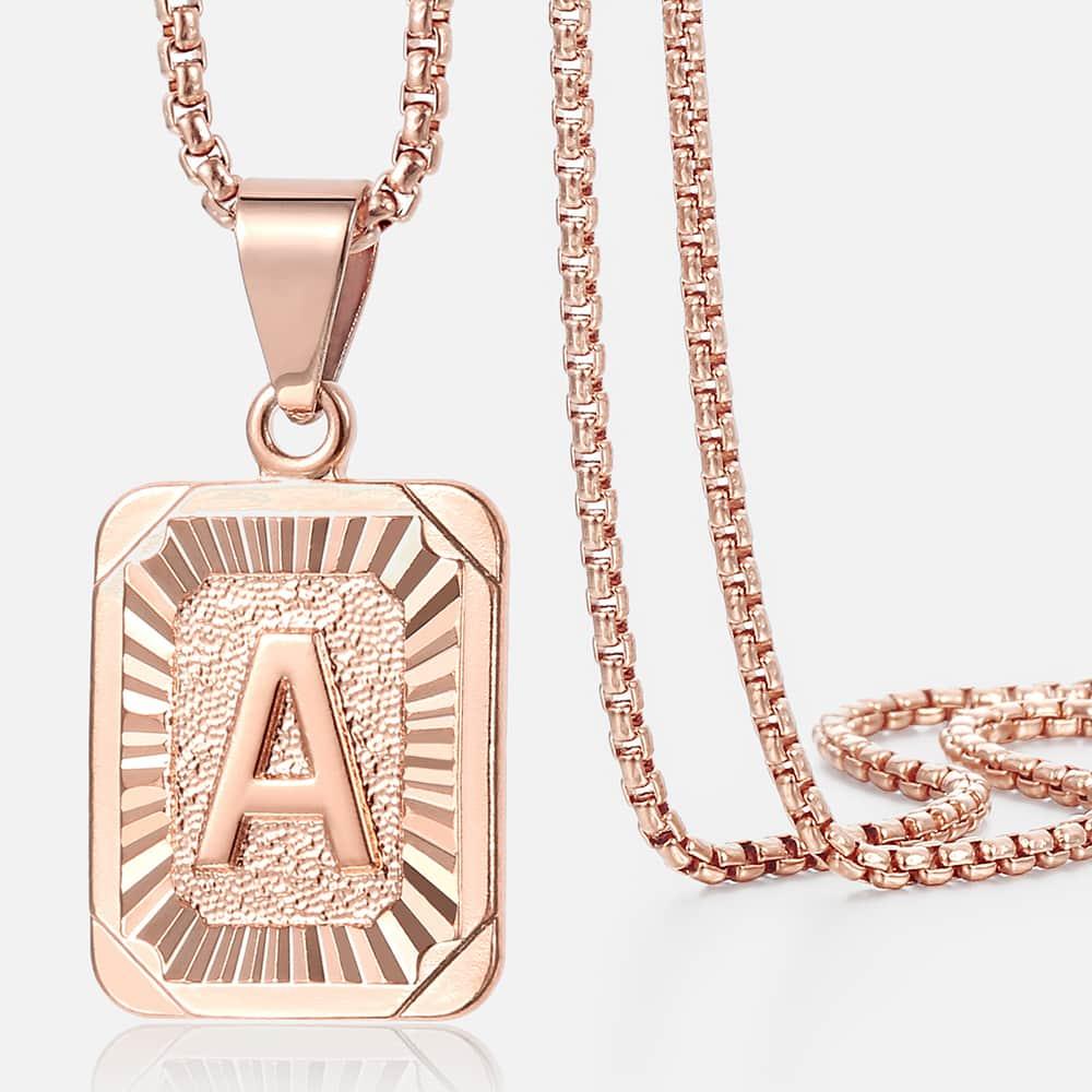 Colar de letras quadradas cor de ouro rosa das mulheres dos homens a b c charme inicial pingente de corrente de aço inoxidável moda jóias presentes gpm12