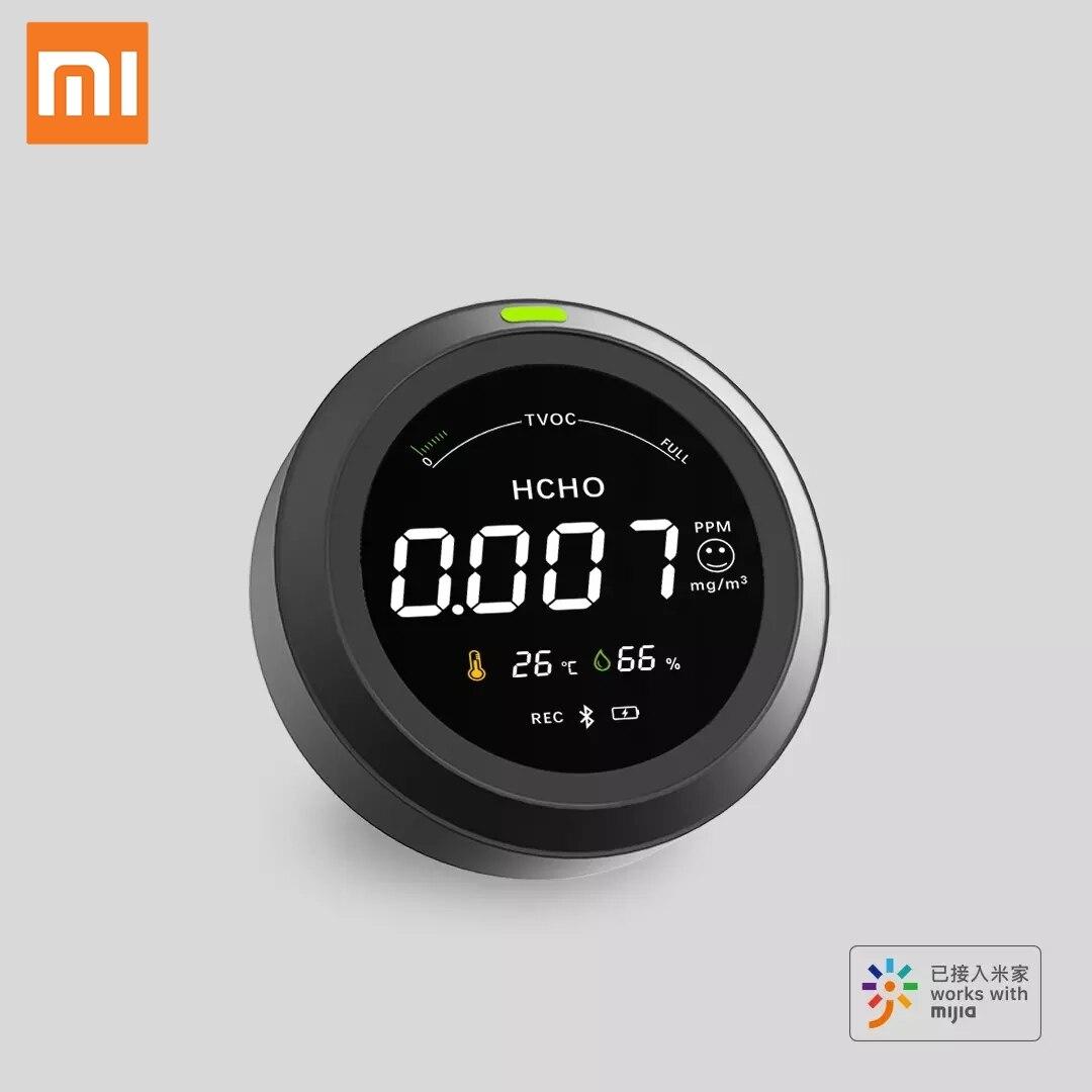Xiaomi Mijia-كاشف جودة الهواء المحمول ، 5 في 1 ، كاشف الفورمالديهايد ، تطبيق شحن USB ، صوت ، بلوتوث ، كاشف هواء ذكي