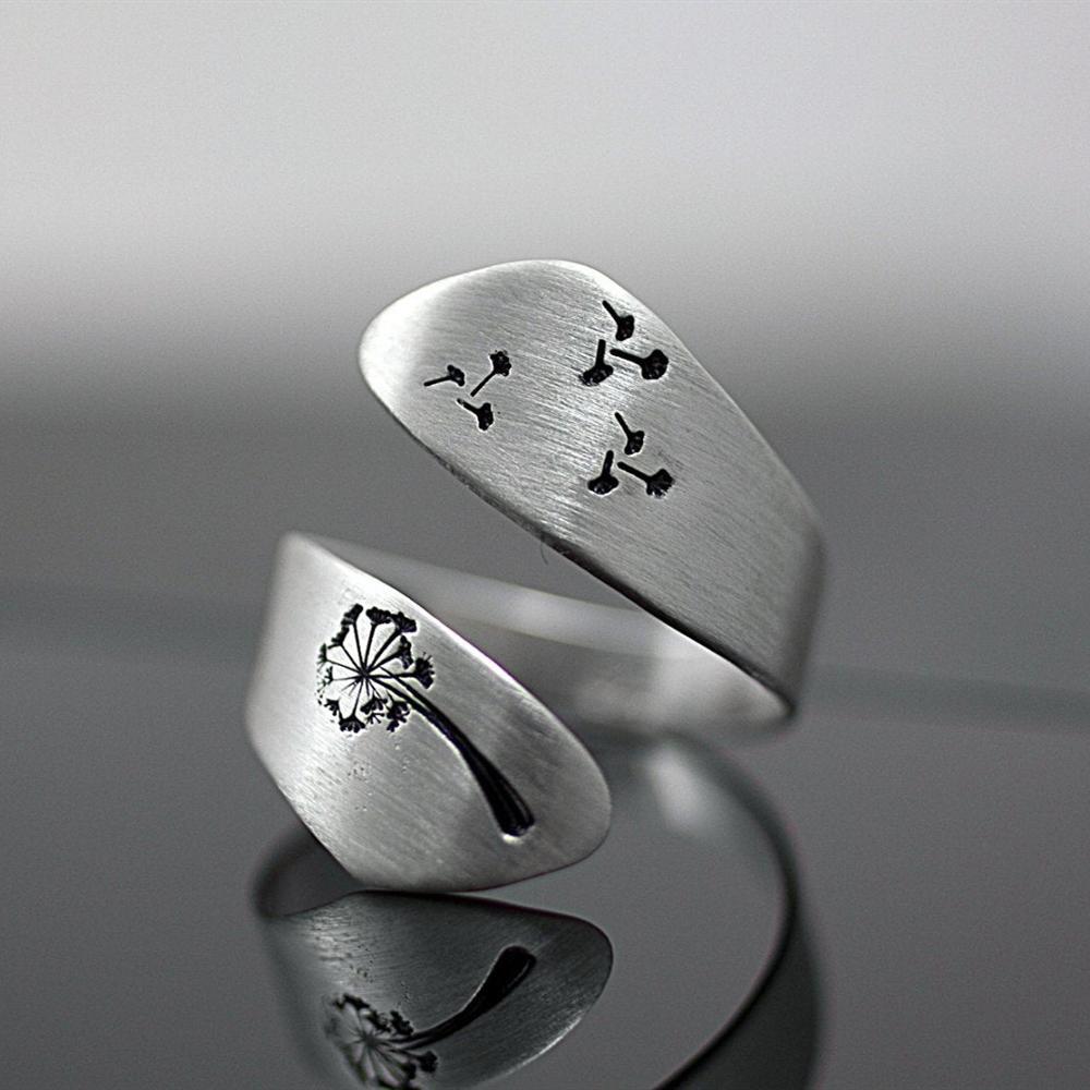 Anéis de prata boêmia ajustáveis, joias de noivado para mulheres românticas e vintage de promessa de casamento
