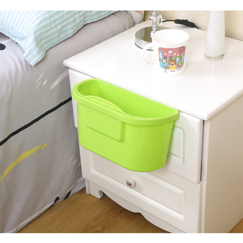 Kitchen hanging trash can with scraper Cabinet door hanging debris bin trash can desktop trash basket storage rack storage box enlarge