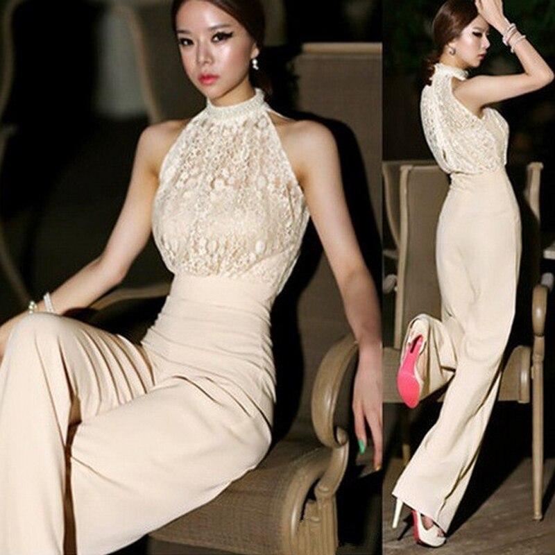 2021 hot kobiety Sexy eleganckie kombinezony pajacyki Patchwork kombinezon kobiet bez rękawów koronki ogólnie spodnie imprezowy kostium lxy162