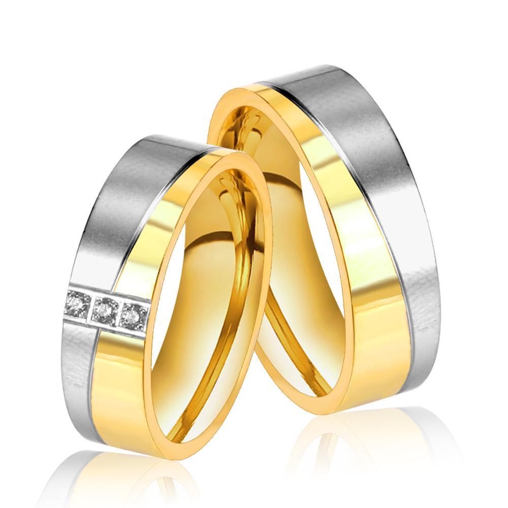LUXUKISSKIDS-anillos de boda románticos para hombre y mujer, anillos de Color dorado,...