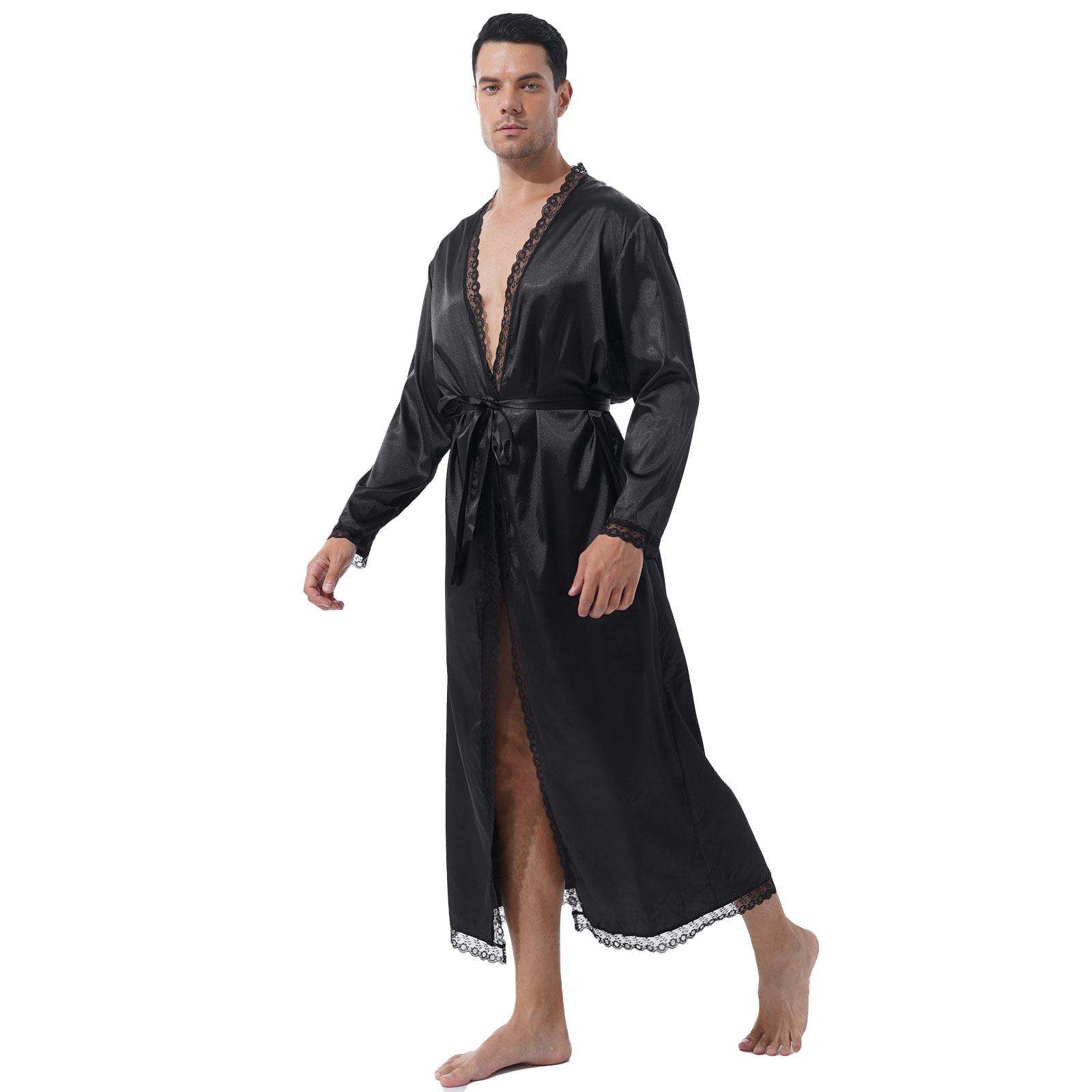 Fashion Men Two-Piece Sissy Set Nightwear Lace Trim Long Sleeve Satin Belted Bathrobe Kimono Night-R