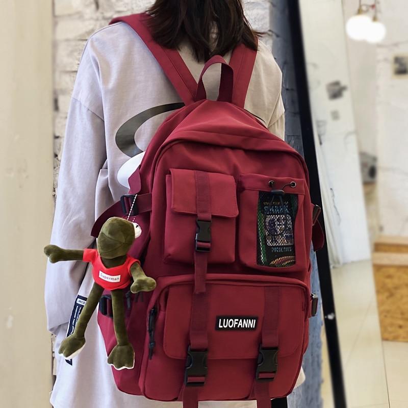 Multiple Pocket Waterproof Nylon Women Backpack High Quality Insert Buckle Unisex Student Schoolbag Lovely Book Mochilas
