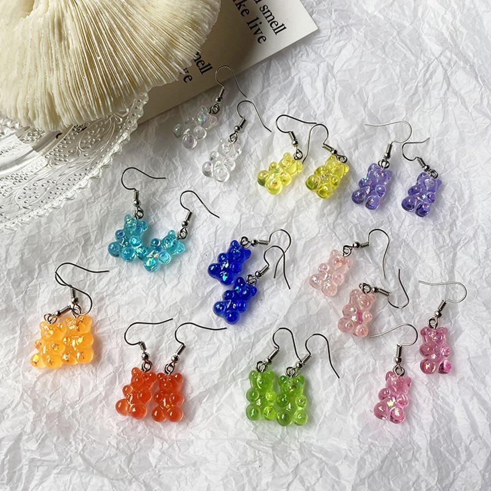 Cartoon Bear Unusual Drop Earrings For Women Teens Silver Personality Transparent Fruit Stud 2021 Fa