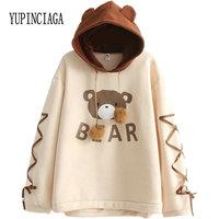 Women's Hooded Sweatshirt Cartoon Bear Print Harajuku Cute Hoodies 2020 Spring Long Sleeve Patchwork Pullovers With Lace Up