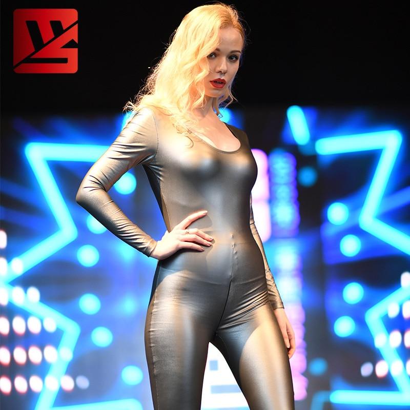 S-XXL زائد انخفاض قطع مثير بولي Leather الجلود ثوب بودي كون مرونة عالية سحاب أكمام طويلة مفتوحة المنشعب ارتداءها النساء الجسم تشكيل دعوى