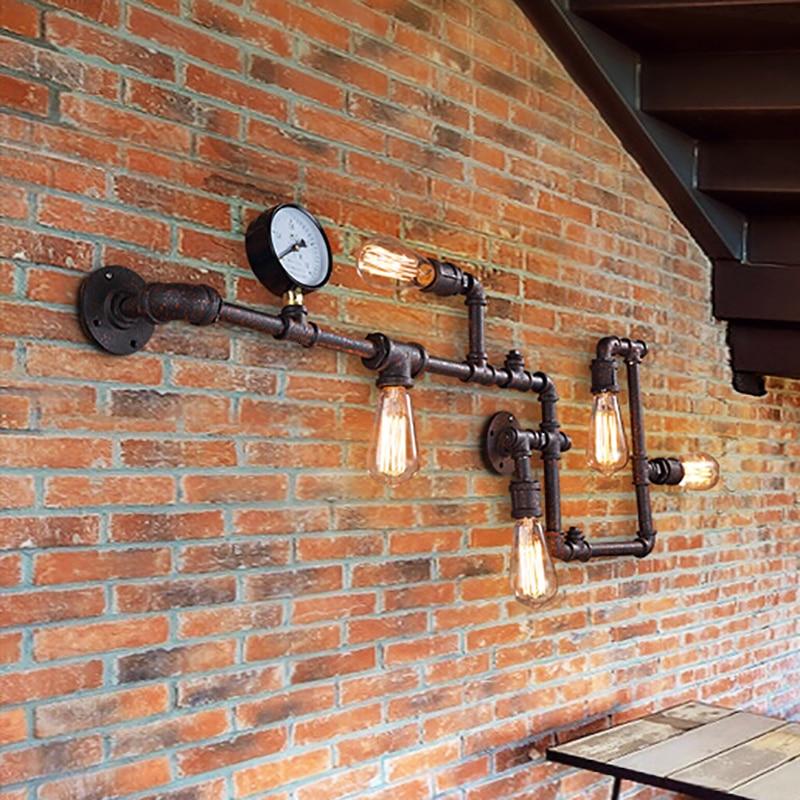 luminaria de parede adulta industrial cano de agua ferrugem de ferro luminaria retro