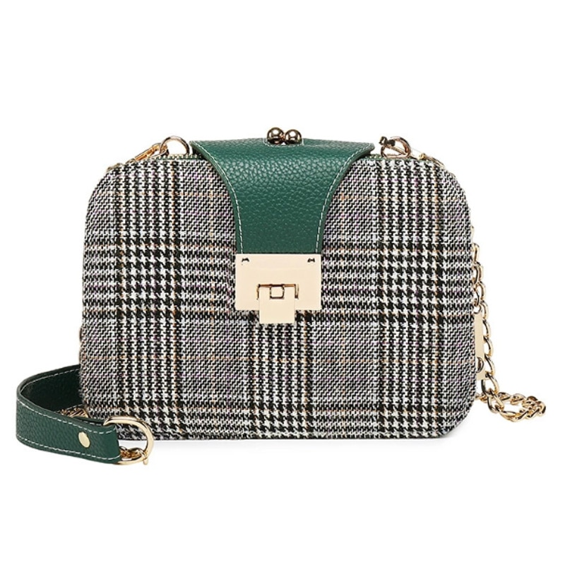 Women Fashion Plaid Crossbody Bags New Design Contrast Color Chain Shoulder Bag PU Leather Womens Flap WLHB3019