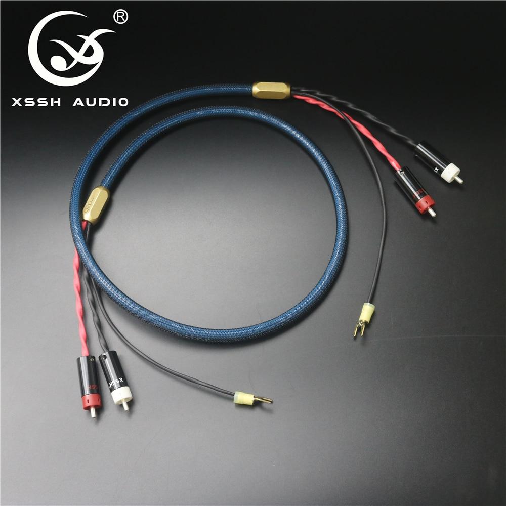 XSSH-درع فضي مطلي بالنحاس النقي OFC ، 4 مراكز ، 2 RCA إلى 2 RCA ، مقبس U spade ، كابل صوت ، سلك أرضي