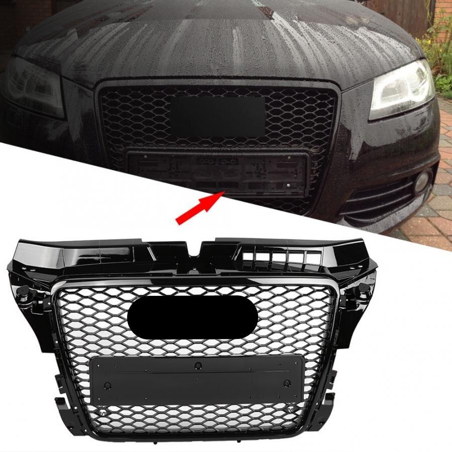 غطاء شواية السيارة, غطاء الشواية الأمامي الرياضي طراز RS3 بنمط قرص العسل الشبكي باللون الأسود اللامع لسيارات أودي A3/S3 8P 2009 2010 2011 2012 2013