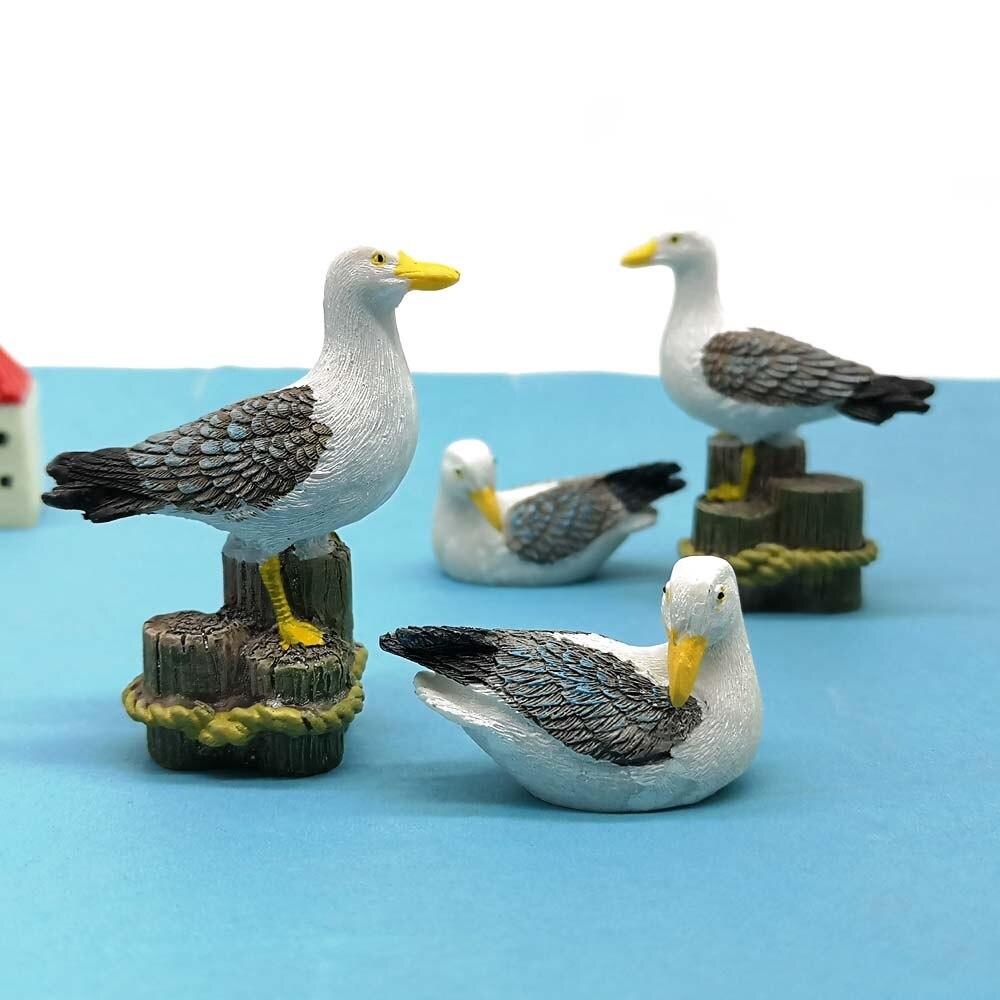 2 piezas Gaviota mar estatua de pájaro Mini estatuilla Animal modelo coche ornamento moderno pastel decoración hogar Decoración miniatura Accesorios