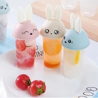 6pcs ice cream popsicle molds cooking tool rabbit cute reusable diy frozen summer homemade ice cream pop baking mould tray pan