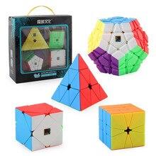 4pcs 스피드 큐브 세트 스큐 피라미드 SQ1 Megaminx 퍼즐 세트 WCA 공식 경쟁 Magico 스피드 큐브 퍼즐 어린이를위한 장난감