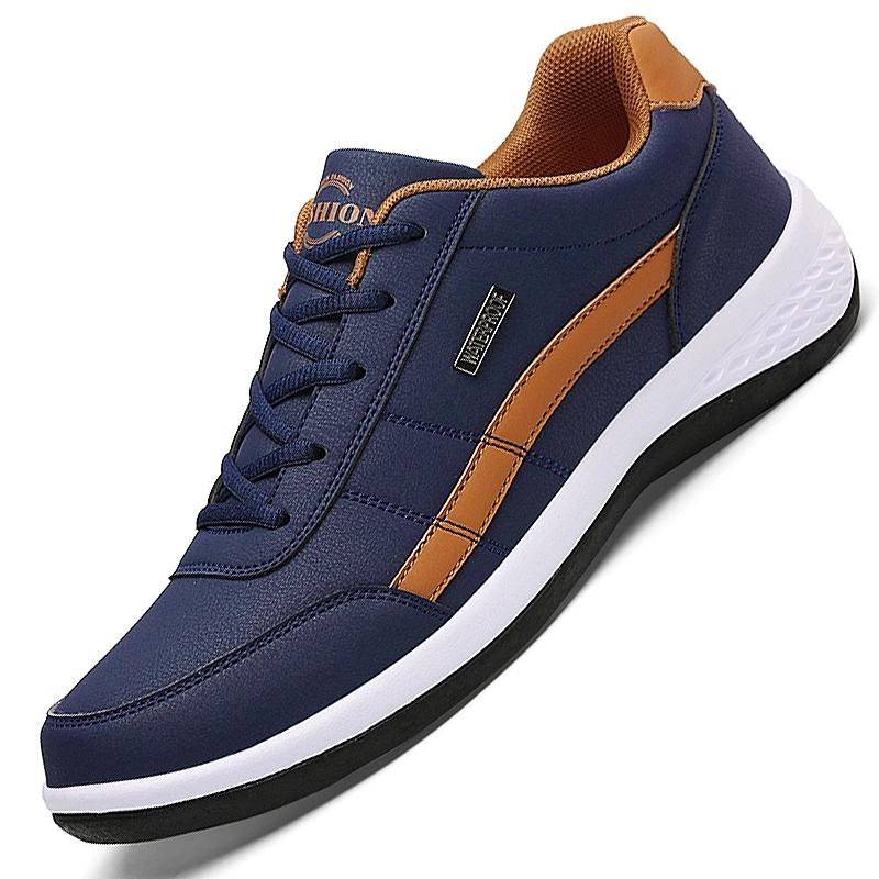 Leather Men Shoes Sneakers Trend Casual Shoe Italian Breathable Leisure Male Sneakers Non-slip Footwear Men Vulcanized Shoes