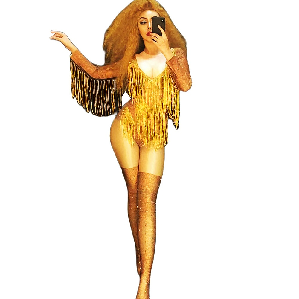 الراين شرابة ارتداءها غطاء الحذاء النساء طويلة الأكمام ملهى ليلي الرقص عرض ارتداء ملابس تنكرية للحفلات السهرة ازياء موحدة