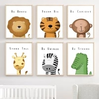lion tiger giraffe zebra crocodile safari nursery wall art canvas painting posters and prints home decor pictures baby kids room