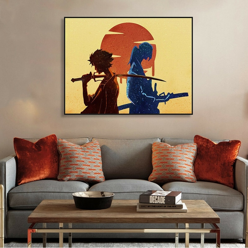 Aquarell Samurai Champloo Anime Leinwand Malerei Poster und Drucke Junge Schlafzimmer Dekorative Malerei Wand Kunst Leinwand Unframed
