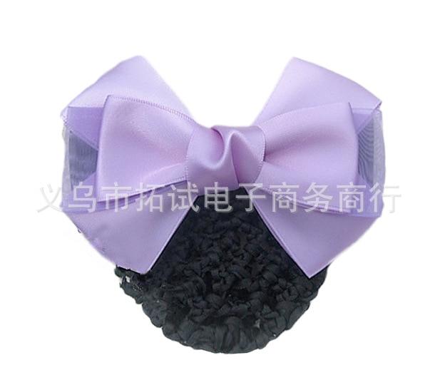 Women's occupation head flower nurse flight attendant hotel bank hairnet decoration purple pink thin net pocket FS052