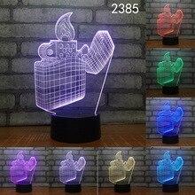 Зажигалка ваза чашка абстрактная 3D Ночная лампа акриловая лазерная стерео Иллюзия 7/16 цветов Пульт дистанционного управления дети друзья п...
