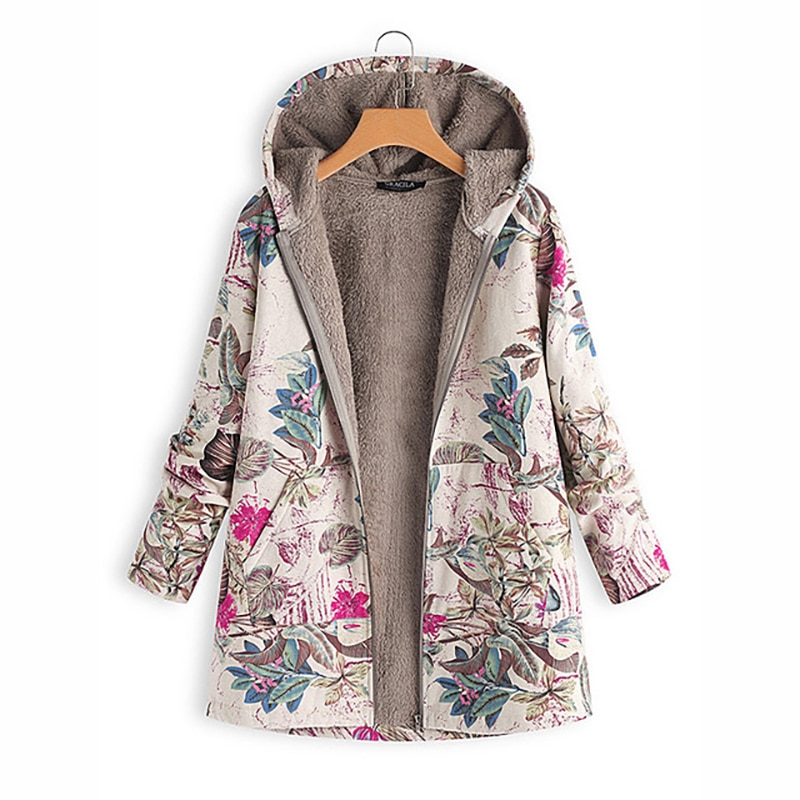 Maternity Coat Winter Casual Floral Print Warm Fleece Hooded Pregnant Woman Pocket Women Outwear S-5XL Maternity Clothes enlarge