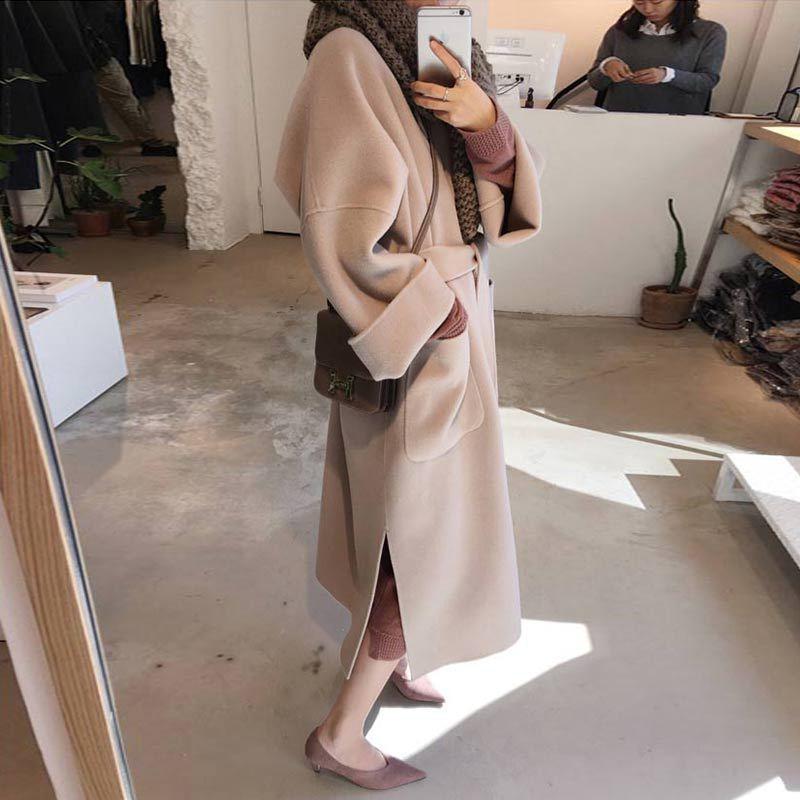 Abrigo de lana para Mujer, abrigo de Invierno con cinturón cruzado y...