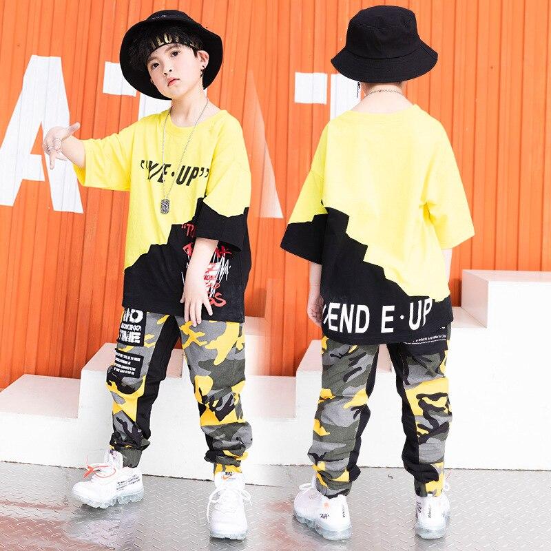 Niños fresco Hip Hop ropa de gran tamaño T camisa superior camuflaje...