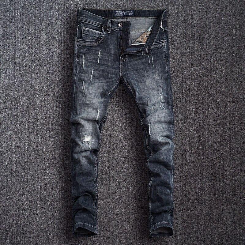 Европейские винтажные модные мужские джинсы, черные и синие эластичные узкие рваные джинсы в стиле ретро, мужские дизайнерские повседневны...