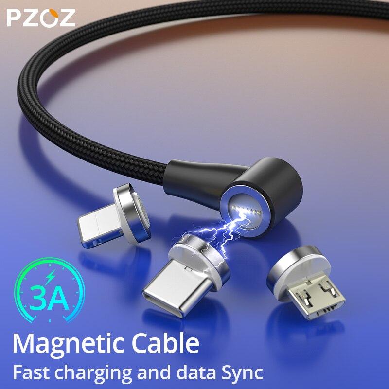 PZOZ 90 degrés câble magnétique usb c Micro usb Type C chargeur magnétique Microusb type-c à charge rapide pour xiaomi redmi note 9s usb-c