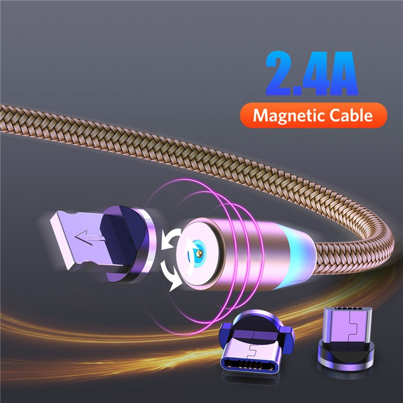 Cable USB LED magnético de carga rápida, Cable USB tipo C, cargador...