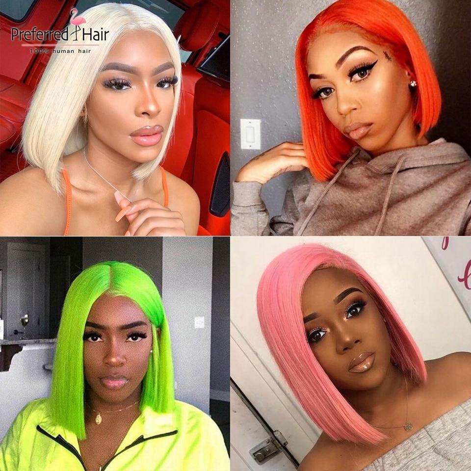Favorito ombre peruca de cabelo humano brasileiro limão verde laranja loira rosa laço fron peruca preplucked curto bob perucas para preto