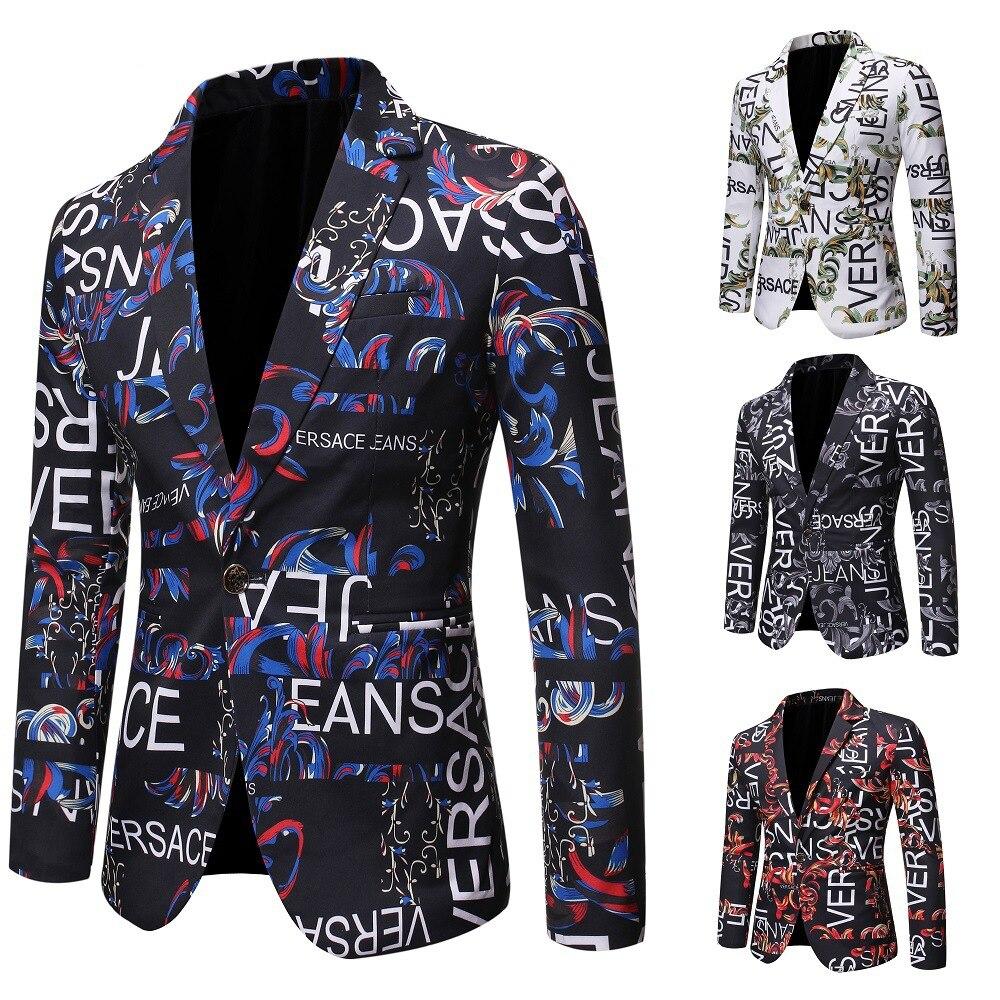 Suit Jacket Fashion Print Men Blazer Best Selling Slim Fit Casual Blazer Homme Coat Hip Hop Singer F