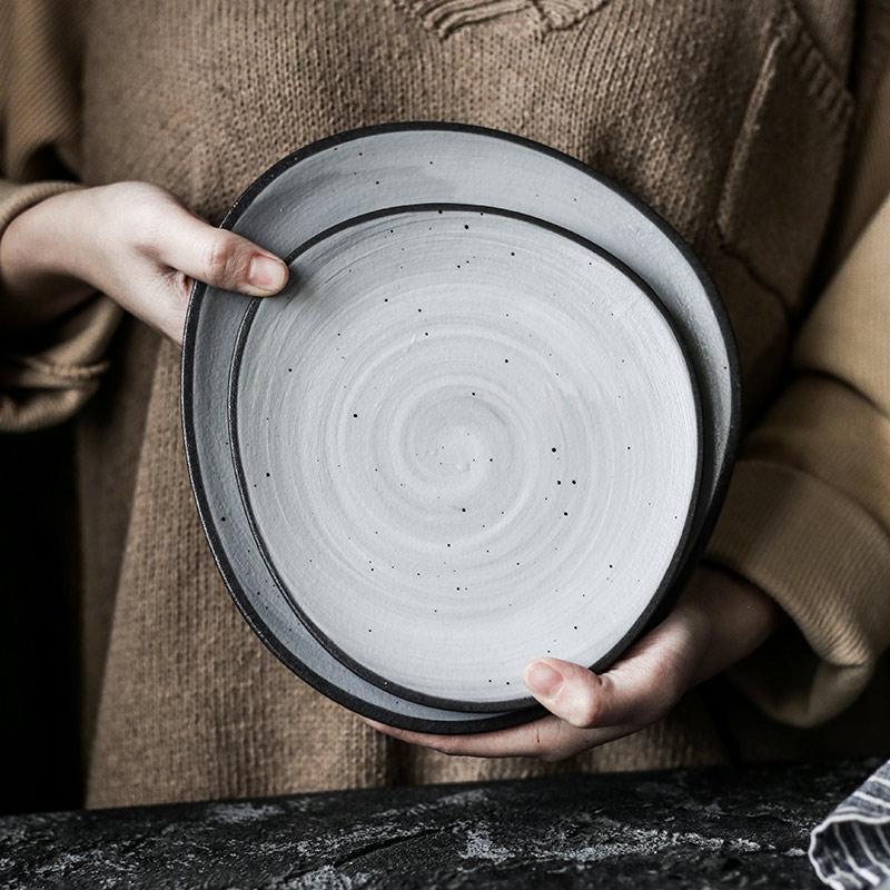KINGLANG Kreative retro reis schüssel keramik schüssel geformt schüssel platte familie steak platte platte mahlzeit flach platte Nordic stil