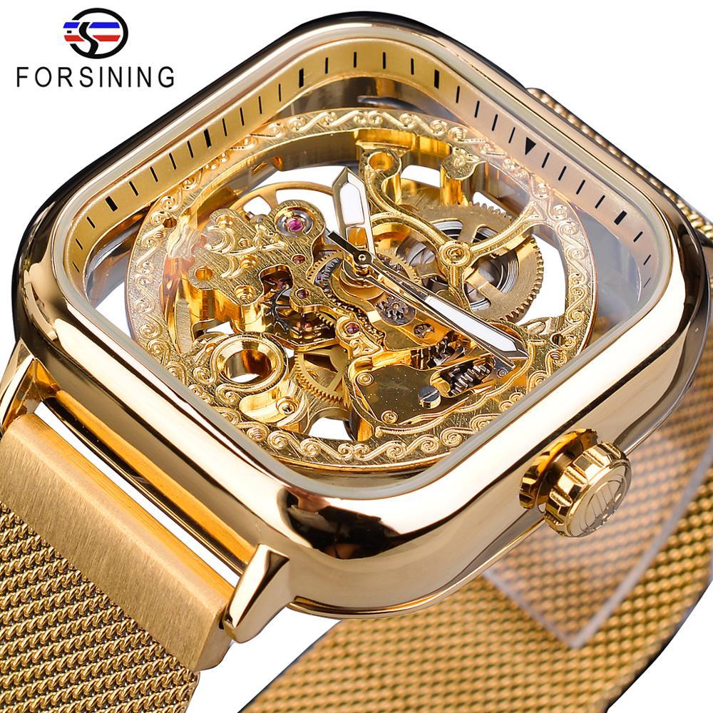 Forsining-ساعات رجالية ميكانيكية ، أوتوماتيكية ، ذاتية الملء ، ذهبية ، شفافة ، شبكية ، فولاذية ، هيكل عظمي ، ذكر ، ساعة ساخنة