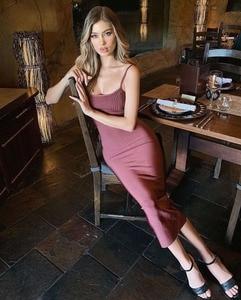 Hot Ladies Sexy O Neck Knee Length Midi Bandage Dress 2020 New Arrivals Designer Fashion Evening Party Dress Vestido