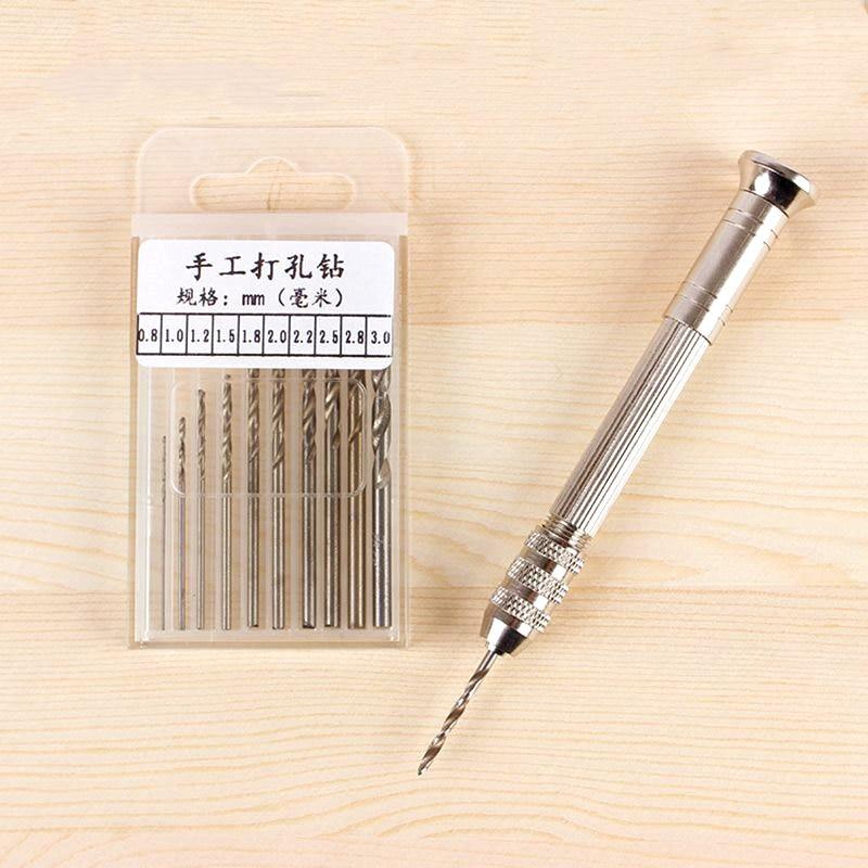 1 Set Metal Hand Drill Equipments Uv Resin Epoxy Mold Tools With 0.8mm-3.0mm Drill Screw DIY Jewelry Making Handmade Tools