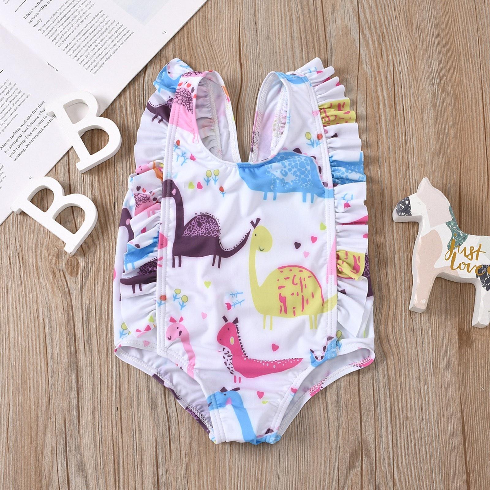 Dinosaure imprimé bébé enfants filles Maillot de bain été Maillot de bain pour enfants fille dessin animé Animal volants Maillot de bain Maillot Femme