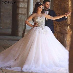 Crystals Wedding Dress 2021 Beaded Full Sleeves Backless Bridal Gown Robe de Mariage Wedding Dress Bride Vestido de Noiva